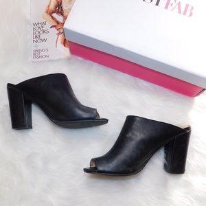 Black Mule Open Toe Heels